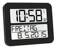 Funk Wand Uhr schwarz übersichtlich Senioren Wochentag ausgeschrieben TFA