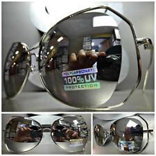 OVERSIZE CLASSIC VINTAGE RETRO Style SUN GLASSES Silver Frame Chrome Mirror Lens