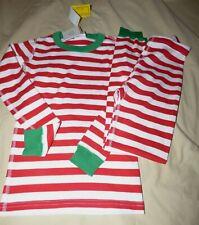 HANNA ANDERSSON 140 US 10 RED / WHITE STRIPE W/ GREEN LONG JOHN PAJAMAS NEW NWT