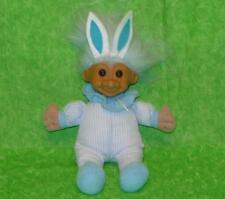 "Russ Blue Easter Bunny Troll Doll Stuffed Animal Cloth Ears 8"" tall"