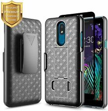 For LG Aristo 4 Plus Case Slim Belt Clip Holster Phone Cover + Tempered Glass