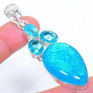 """Triplet Fire Opal, Blue Topaz Gemstone Ethnic Jewelry Pendant 2.5"""" SK-3360"""