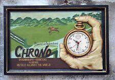 N°4569s FANTASTICO QUADRO PANNELLO INSEGNA CHRONO WATCHES OROLOGIO PUB IN LEGNO