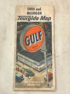 Vintage Antique Ohio & Michigan Tourguide Road Map Folding 50s-60s Gulf
