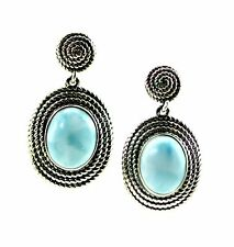 Stunning Larimar 8X10 Oval Coil Drop Dangle Earrings. .925 Sterling Silver