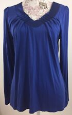 Motto Womens Blouse Size Small Blue Detailed Vneck Long Sleeve Sexy Top