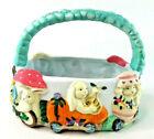 Vintage Porcelain Easter Basket Featuring 3 Bunnies Carrot Egg Mushroom 1995