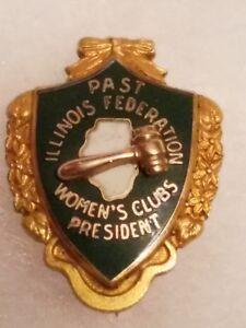 1/10 10K Gold & enamel Past Illinois Federation Women's Clubs President Pin