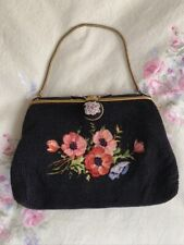French Hand Made Black Beaded Evening Bag W/ Floral Embroidery & Enamel