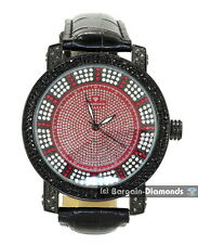 mens diamond black clubbing ice out case watch red dial black leather Maxx