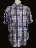 BROOKS BROTHERS XL Multi-Color Checks Short Sleeve Button Irish Linen Shirt