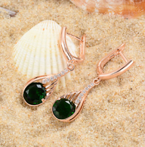 3Ct Round Cut Green Emerald Drop Dangle Woman's Earrings 14K Rose Gold Finish