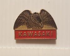 Vintage 1980's enamel metal KAWASAKI MOTORCYCLES hat tac pin lapel tack pinbacks