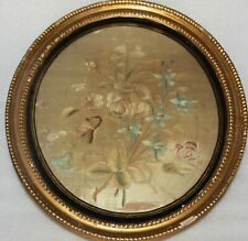 More details for antique framed silk embroidered panel with interesting letter dated 1868 to back