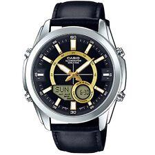 Casio AMW810L-1A Men's Leather Watch, Analog/Digital, 50M WR, World Time