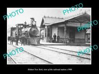 OLD LARGE HISTORIC PHOTO OF HOBART NEW YORK, THE RAILROAD STATION c1900