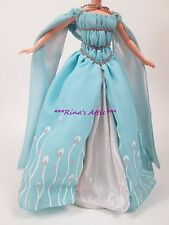 Blue Silver Floral Angelic Renaissance Medieval Princess Barbie Fashion Gown