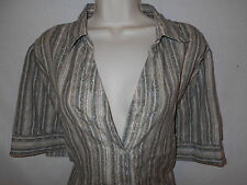 Liz & Me 1X Blouse Top 18-20W Womens Plus Shirt Green Cream Tan 6p98