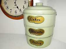 "Retro Vintage 50s Baked Enamel Color-Ware By Norton Stackable Canister ""L@@K"""