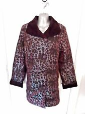 ❤ DENNIS BASSO Ladies Size 18 (M) Purple Blue Leopard Shimmer Smart Long Coat