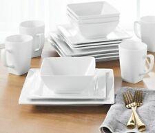16-Piece Square Porcelain Dinnerware Set White Dinner Plates Dishes