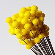 (1) lampwork Czech yellow flower stamen art glass double ball craft headpin bead