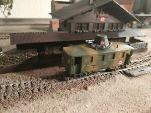 PIKO, WWII MILITARY ARMED WAGON, SCALE HO