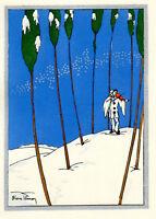 1930s French Pochoir Max Ninon Print Art Deco Winterscape Harlequin w/ Violin
