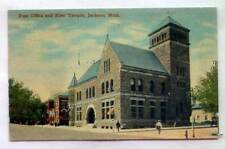 Post Office And Elks' Temple Jackson MICHIGAN *EARLY 1912*