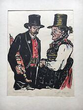 LIESELOTTE PLANGGER-POPP (1913-2002) FARBHOLZSCHNITT PORTRAIT BAUERNPAAR TIROL