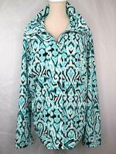 Laura Ashley Multicolor Ikat Print Softshell Jacket Plus 1X Zipper Mock Collar