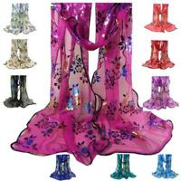 Women's Vintage Colorful Flower Lace Gauze Veil Wrap Scarf Shawl Ladies Wrap AU