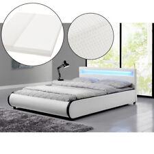 Polsterbett Doppelbett Kunstlederbett Bettgestell Matratze 140 x 200 cm mit LED