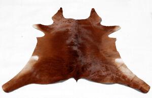 """Rare Cowhide Rugs Calf Hide Cow Skin Rug (31""""x35"""")Brown Beige White CH8402"""