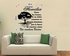 "Tree Wall Decal. Wall Art. Sticker. Arbol Familia Unida por sus raices.  20"""