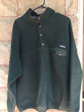 Patagonia Sweater Mens Xl Extra Large Made In Usa Green Pull Over T Snap