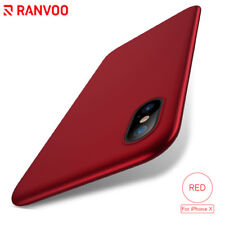 For iPhone X Slim Shockproof Protective Hard PC Shell Bumper Red Back Cover Case
