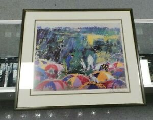 Arnie In The Rain By Leroy Neiman Lithograph, Hand Signed and Framed!