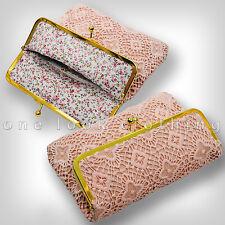 LADIES NUDE PINK PEACH CLUTCH BAG HANDBAG VINTAGE STYLE CROCHET LOOK GOLD TRIM