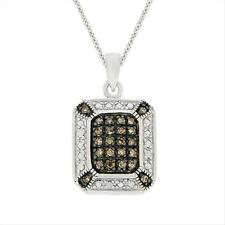 925 Silver 1/4 CTW Champagne Diamond Rectangle Necklace