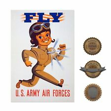 """13""""×19"""" Historic Poster, Reproduction: Fly Military Air Force Recruitment Wwii"""
