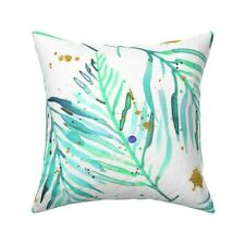 Watercolor Palms Mint Green And Throw Pillow Cover w Optional Insert by Roostery