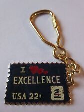 KEYCHAIN I Love Heart Excellence stamp 22c Postage USPS Stamp NEW
