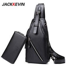 Men's Black Chest Bag Sling Back Pack + Wallet Updated PU Leather USB Charging