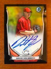 2014 Bowman Chrome Prospects Autographs David Holmberg Black Refractor #/99 Reds