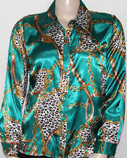 NEW Elementz SIze XL Long Sleeve Chain & Animal Print Button Front Shirt GREEN