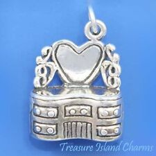 VANITY MAKEUP TABLE SET with HEART SHAPED MIRROR 3D .925 Sterling Silver Charm