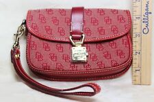 Dooney Bourke Signature Flap Red Wristlet Jacquard Leather