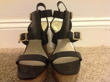Vince Camuto Size 9 M Noli Black Leather Open Toe Wedges New Womens Shoes
