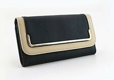 LADIES GIFT - PURSE -CLASSY BLACK & CONTRAST EDGE-ZIPPED & CARDS-LEATHER STYLE